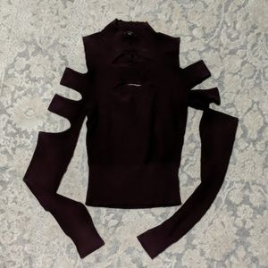 Express Cut Out Sweater Maroon Burgundy XS